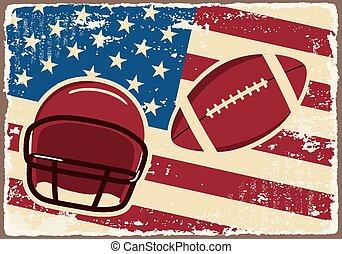 hełm, flag., piłka nożna, etykieta, amerykanka, wektor
