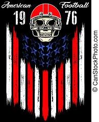 hełm, gra, piłka nożna, amerykanka, czaszka