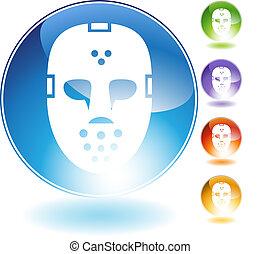 hełm, kryształ, maska, hokej, ikona
