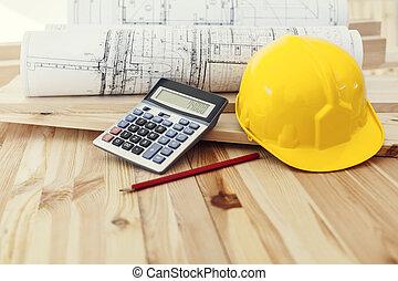 hełm, odbitki światłodrukowy, drewno, kalkulator, żółty