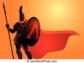 hełm, płaszcz, starożytny, chodząc, czerwony, wojownik