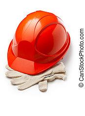 hełm, rękawiczki bezpieczeństwa, czerwony