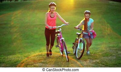 hełm, rower, górny, chód, rower, pagórek, dzieci