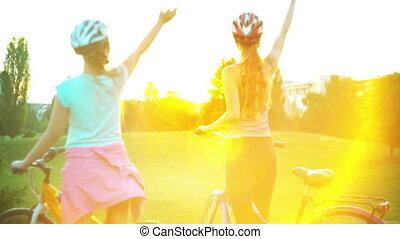 hełm, rower, lato, słońce, park, powstanie, dzieci,...