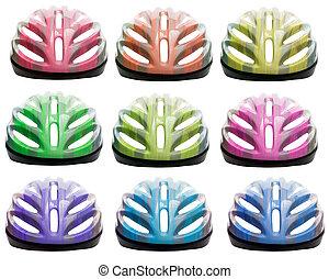 hełm, rower, urozmaicenie, kolor, odizolowany, bezpieczeństwo, tło, biały
