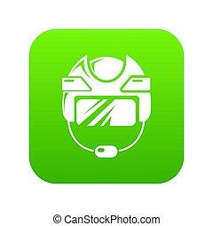 hełm, zielony, hokej, ikona