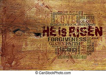 """he, es, risen"", religioso, plano de fondo"
