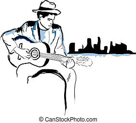 Stylised illustration of a man playing guitar