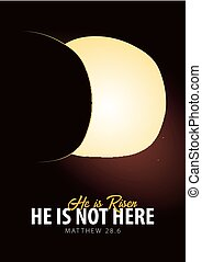 He is Risen. Celebrate the savior. Easter Church poster with open tomb, christian motive. Vector illustration