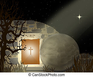 He Is Risen - Christian graphic of tomb and open grave