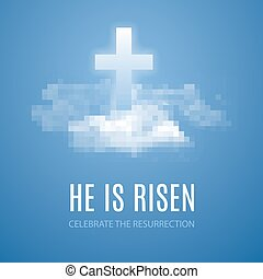 He is risen. Easter banner background with clouds. Vector...