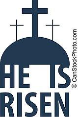 He Is risen. Easter. Vector flat illustration.