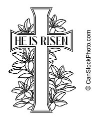 He is risen. Happy Easter greeting card. Cross and lilies. ...