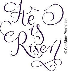 He is risen phrase. Hand drawn easter greeting card. Modern...