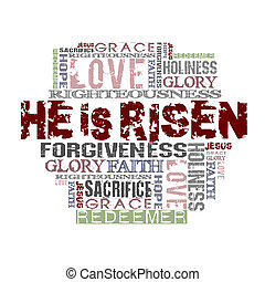 He Is Risen Religious Background - Religious Words in grunge...