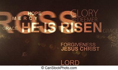 HE IS RISEN ULTRAHD - UltraHD Christian text, lights and...