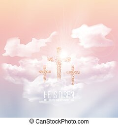 He is risen, vector Easter illustration with transparency and gradient mesh.