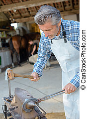 he is shaping the hoofs