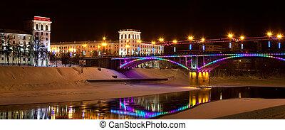 he night city of Vitebsk, Belarus