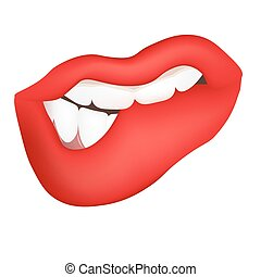 Vector illustration of a Red female lips, lustful hint