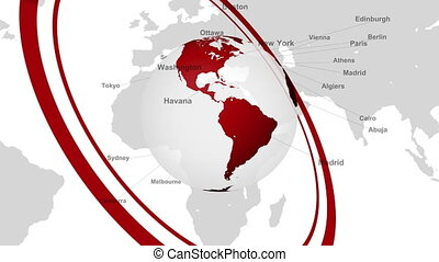 Rotation of the red earth; The capital of the world's major countries;
