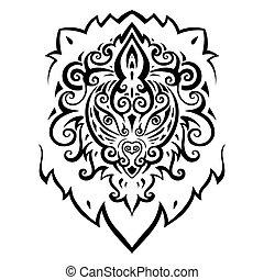 head., ライオン, pattern., 民族
