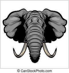 head., 象, 隔離された, white.