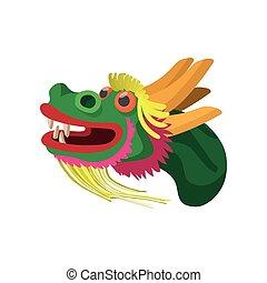Head a chinese dragon icon, cartoon style