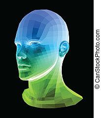 head., abstract, vector, menselijk, illustratie