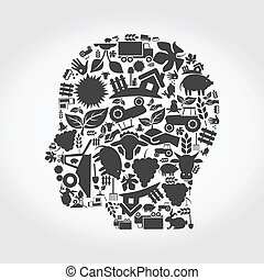 Head agriculture - Head made of agriculture. A vector...