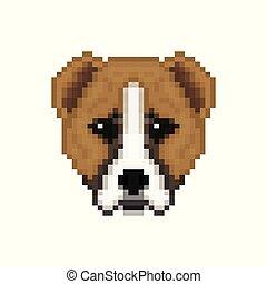 Head Alabai dog in pixel art style.