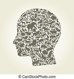 Head an animal - Head of the person made of animals. A ...