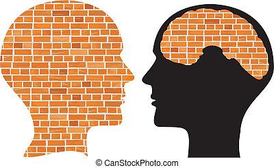 head and brain of brick - human head and brain of a brick...