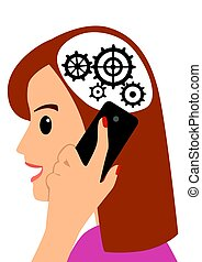 Head and gears. Young woman talking on the phone