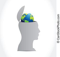head and globe inside a head illustration design