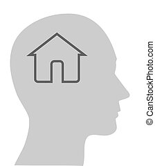 Head and House -silhoutte vector - Vector Icon head think...