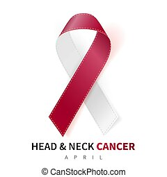 Head and Neck Cancer Awareness Month. Realistic Burgundy Ivory ribbon symbol. Medical Design. Vector illustration