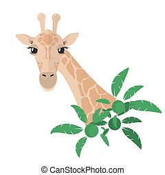 Head and neck of a giraffe in a flat style With green tropical plants