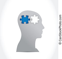 head and puzzle pieces illustration design
