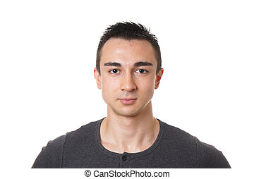 young man with short dark hair