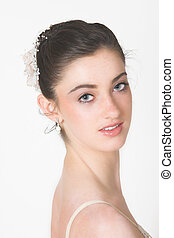 Head and Shoulders shot of a young ballerina