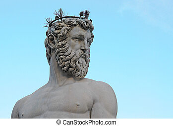 head and torso of statue of neptune on piazza della signoria...