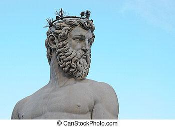 head and torso of statue of neptune on piazza della signoria...