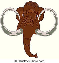 Head animal mammoth.Head of the mammoth on white background...