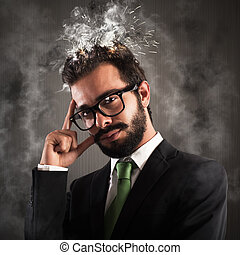 Head as electrical system shorted - Stressed businessman...