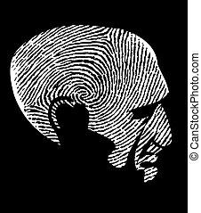 head as fingerprint on the black background