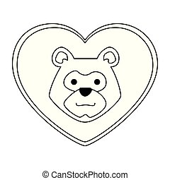 head bear grizzly with heart