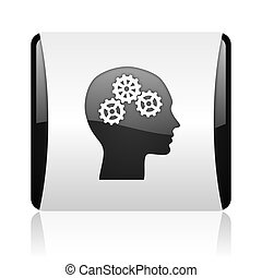 head black and white square web glossy icon