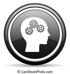 head black glossy icon on white background