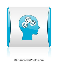 head blue and white square web glossy icon